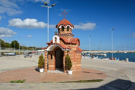 BURGAS, BULGARIA - OCTOBER 9, 2019: Christian Orthodox temple St Nicholas the Miracle Worker at Sarafovo fishing port near Burgas, Bulgaria. Editorial