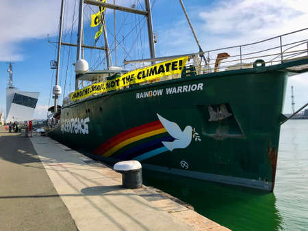 BURGAS, BULGARIA - JUNE 6, 2019: Greenpeace Rainbow Warrior sailing ship at the Port of Burgas, Bulgaria. Greenpeace is a non-governmental environmental organization with offices in over 39 countries.