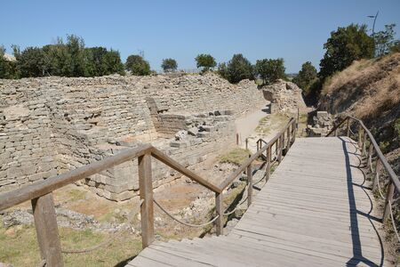 The ruins of the legendary ancient city of Troy near Canakkale, Turkey Stock Photo