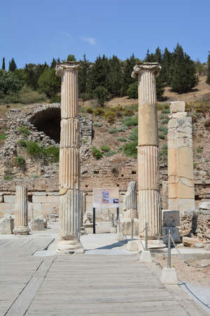 The ruins of the ancient city of Ephesus in Turkey. Columns of the Roman basilica.