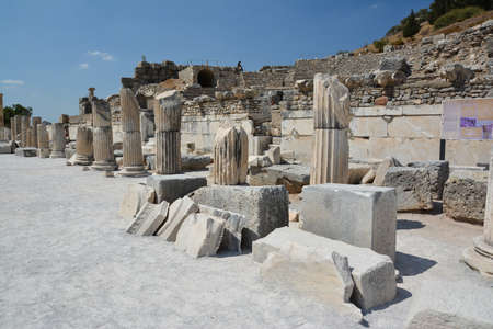 EPHESUS, TURKEY - AUGUST 16, 2017: The ruins of the ancient city of Ephesus in Turkey. Early Christian Basilica. Редакционное
