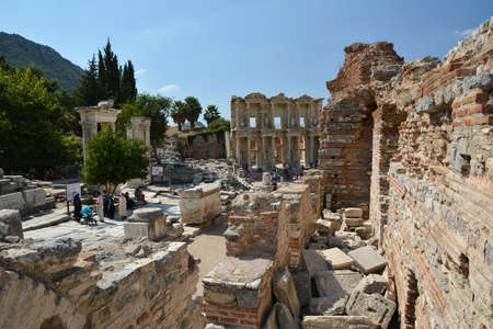 EPHESUS, TURKEY - AUGUST 16, 2017: Celsus Library in Ephesus ancient city, Selcuk, Turkey.
