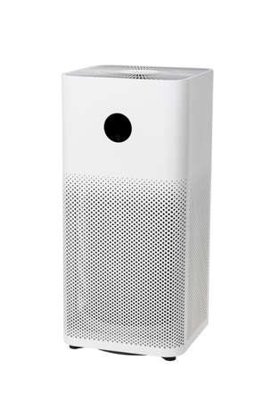 Air purifier with three-layer activated carbon hepa filter for removing formaldehyde, PM2.5, odors, dust, isolated on white background