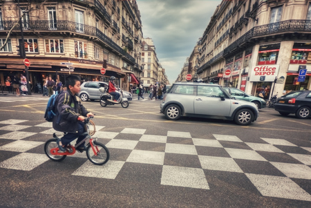 France, Paris - March 2008: Crosswalk on rue Etienne Marcel (rue Aux Ours) and Boulevard de Sebastopol Editorial