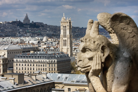 View from the observation deck of the cathedral of Notre Dame at Sacre Coeur and Tour Saint-Jacques. Paris. France Stock Photo
