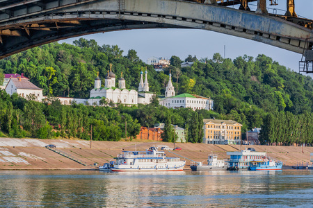 View of the Volga River, Kanavinsky Bridge and the Blagoveshensky monastery. Nizhny Novgorod. Russia