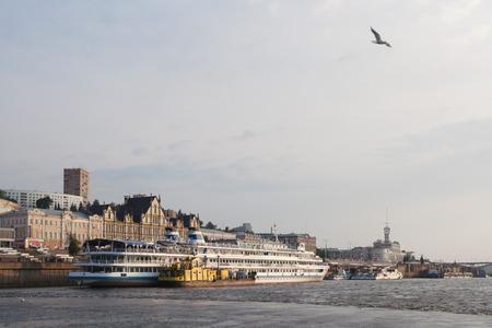 The Volga River and the Nizhne-Volzhskaya embankment and ships. Summer day. Nizhny Novgorod. Russia