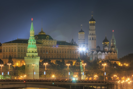 View of the Moscow Kremlin at night in summer. Russia Stok Fotoğraf