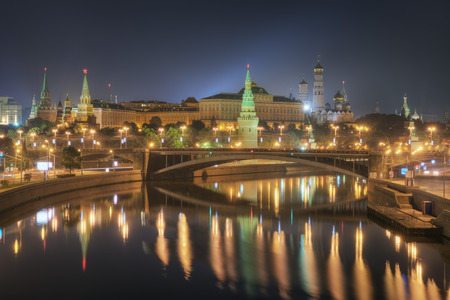 View of the Kremlin, Moskva River and The Great Stone Bridge at night in summer. Moscow. Russia
