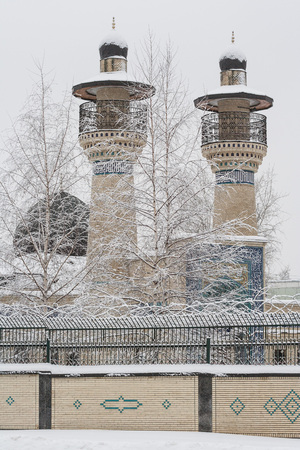 Minarets covered with snow in winter. Moscow. Russia Stok Fotoğraf