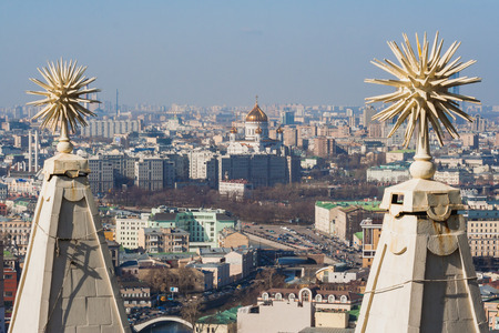 View from the Kotelnicheskaya Embankment Building on Cathedral of Christ the Savior Moscow. Russia