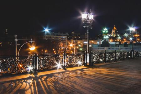 Patriarshy Bridge at night. Summer. Moscow. Russia