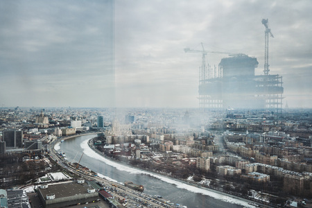 Construction of the business center of Moscow City Stok Fotoğraf