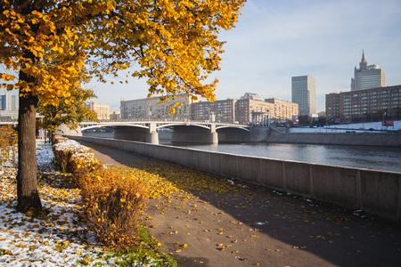 Berezhkovskaya quay. The Borodino Bridge. Moscow. Russia