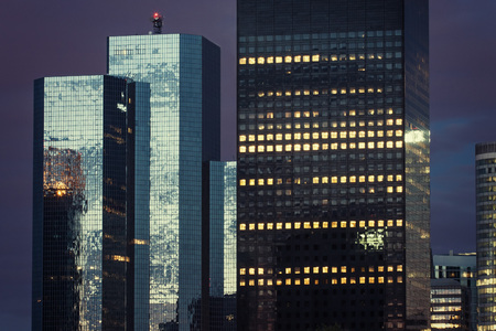 The skyscrapers of La Defense business district at night. Paris. France