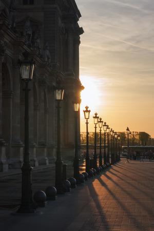 Louvre at sunset. Paris. France Stok Fotoğraf