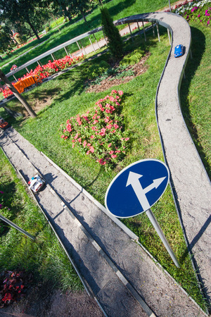 Flower garden in the form of a road junction in the park