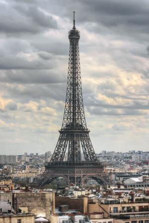 Eiffel Tower seen from Arc de Triomphe. Paris. France