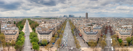View from the Arc de Triomphe on city and the business district La Defence. Paris. France Stok Fotoğraf