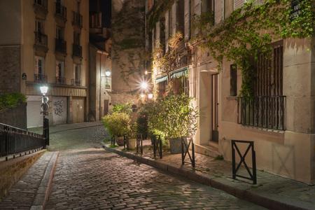 Rue Poulbot at night. Paris. France