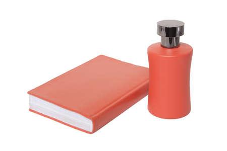 Orange notepad and bubble on white background