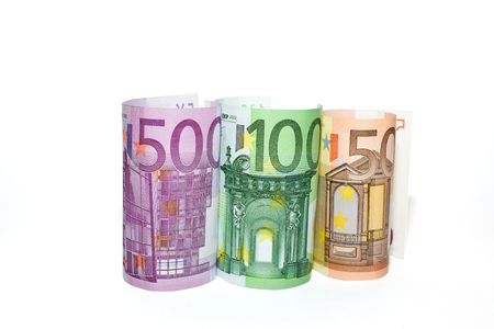denominations: EURO-banknotes  of various denominations on a white background