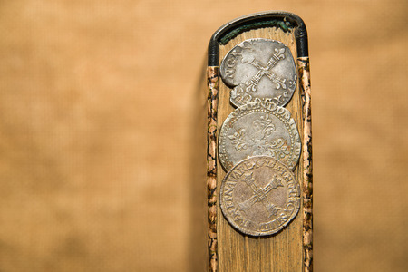 numismatics: French old silver coins is on the book Stock Photo