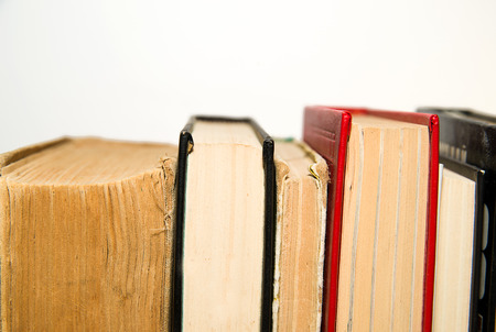 scrutinize: Several books are next to each other