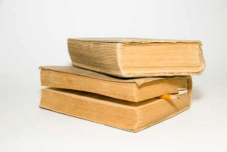 thesis: Two old big books on a white background Stock Photo