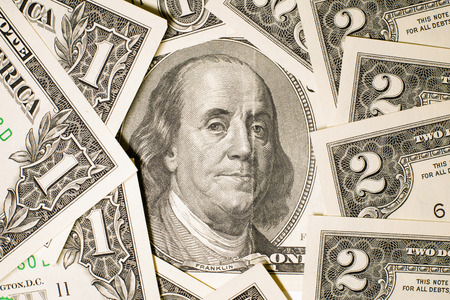 emolument: Banknotes US $ 100, $ 2 and $ 1 Stock Photo