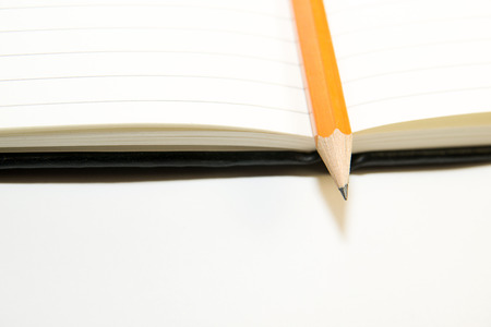 scratchpad: Notepad with a recording sheet and pencil  on a white background