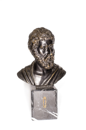 knowledgeable: Bronze Bust of Roman emperor Marcus Aurelius on a white background