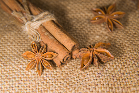 smack: Few star anise and cinnamon sticks on old cloth Stock Photo