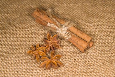 savour: Few star anise and cinnamon sticks on old cloth Stock Photo
