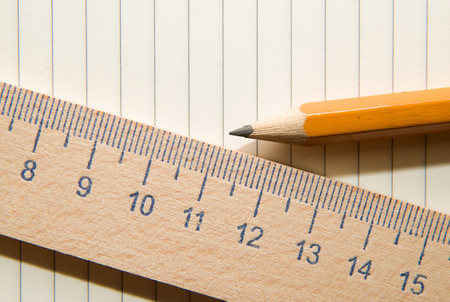 scratchpad: Notepad with a recording sheet, pencil and wooden ruler