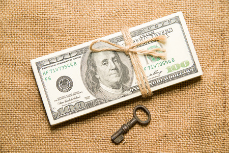 emolument: One pack of dollars tied up with rope and key in the old cloth