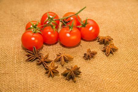A lot red tomatos and star anise fruits on old cloth