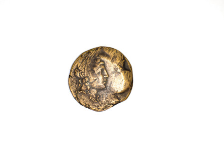 gelt: One old coin with portrait of king on a white background Stock Photo