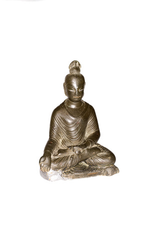sanctity: Figure of Buddha in bronze on a white background Stock Photo