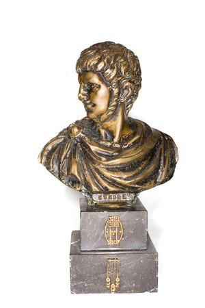 atrocity: Bronze Bust of Roman emperor Nero Clavdius Caesar Avgustus Germanicus  on a white background