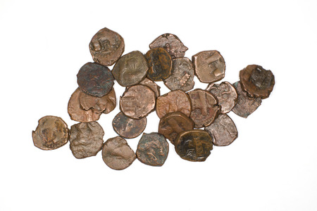 antique coins: Many  antique bronze Sasanid coins on a white background