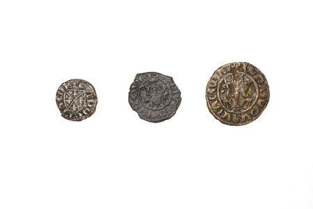antique coins: A lot antique bronze Armenian coins on a white background
