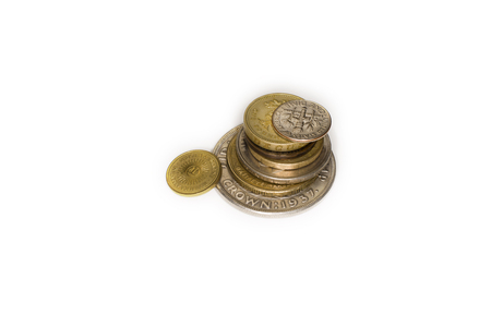 monies: Several coins are one to one on a white background Stock Photo