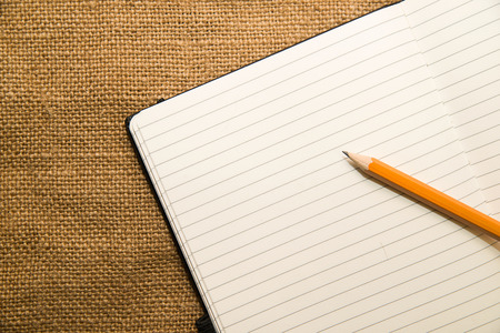 scratchpad: Opened notebook with a blank sheet and pencil on the old tissue
