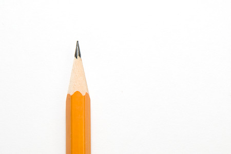 ligneous: Orange wooden pencil for writing on over white Stock Photo