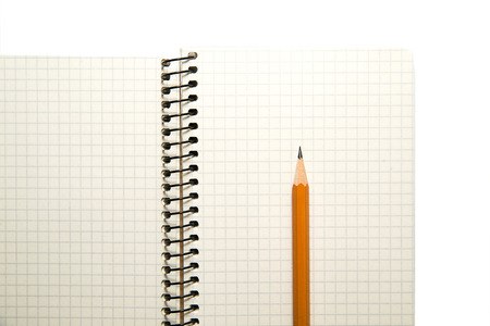 scratchpad: Opened notebook with a blank sheet and pencil on over white