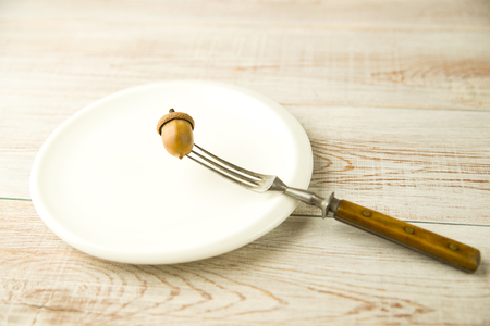 banket: Acorn on a plate and fork on the table Stock Photo