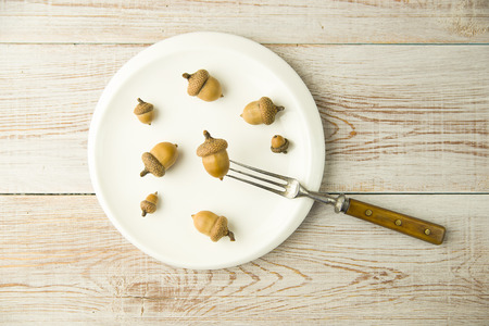 banket: Acorns on a plate and fork on the table Stock Photo