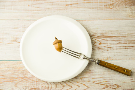 ingestion: Acorn on a plate and fork on the table Stock Photo
