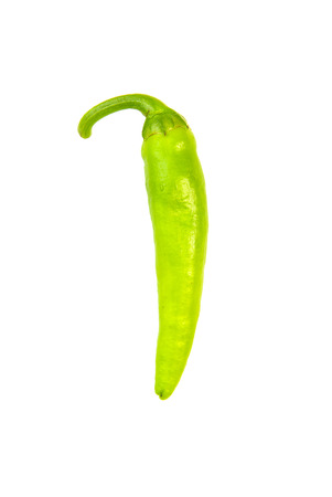 poignant: One ripe green Chilli peppers on over white Stock Photo